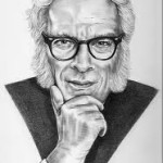 Isaac Asimov in B & W drawing