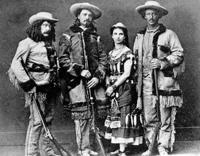 Ned Buntline, Bufalo Bill Cody, Giuseppina Morlacchi, Texas Jack Omohundro (1846-1880) (via Wikipedia)